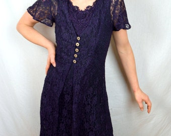 Vintage 80s All That Jazz Purple Lace Maxi Dress