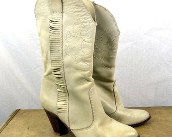 Vintage The Wild Pair Fringe Western Boots Stacked Heel - Womens Size 5 1/2