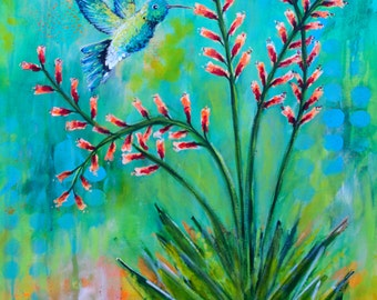 Desert Nectar // Hummingbird, Desert Flower Plant, Abstract Original Painting - 36 x 24