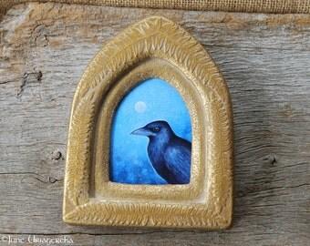Crow - Original Painting with Handmade Frame