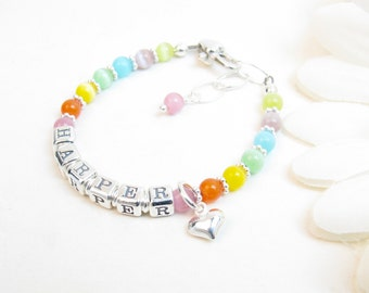 Cats Eye NAME Bracelet for Baby, Toddler, Girl - Rainbow Cats Eye and Sterling Silver