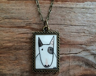 Bull Terrier Necklace - Original Watercolor Hand Painted Art Pendant