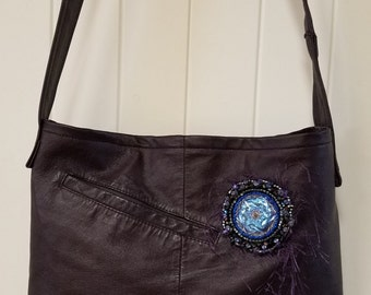 Handmade - Pretty Plum Beaded Leather Jacket Handbag