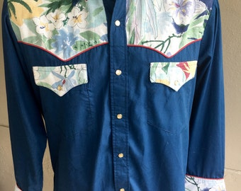 1970s western floral sparrow long sleeve collared shirt - size XL