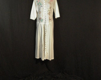 White Cottom Boho Chic Susie Sparkle One Size fits all Wearable Art Button Up Dress