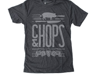 Foodie Gifts, Mens Gift, Gifts for Men, Graphic Tee - Chops & Hops: