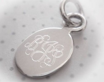 Sterling Silver Engravable Oval Charm or Pendant