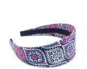 Wide Headband - Navy, Gray, White, Pink & Salmon Headband - Girls Headbands, Teen Headbands, Adult Headbands - Preppy Colorful 2 inch wide