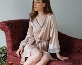 bridal silk robe with embroidered lace trim - ALICE charmeuse with spandex bridal range - made to order