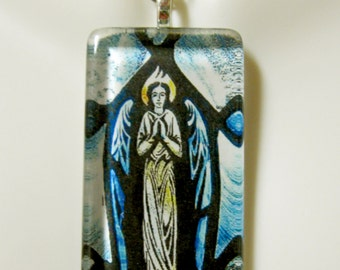 Blue stained glass window angel pendant with chain - GP01-372