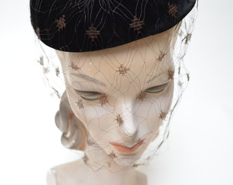 therese ahrens vintage 50s hat brown velvet cocktail hat net