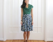 Flared Twirl Skirt, Aline Floral Skirt, Floral Print Skirt, Navy Blue Green Skirt, Summer Skirt, Knee Length Skirt, Market Skirt - TRACY