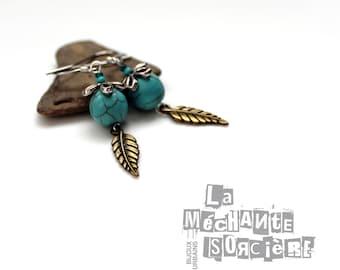 Turquoise earrings - Antique brass and silver color - Petit morceau de Ciel - Vertical garden - La Méchante Sorcière - Bohemian, gypsy