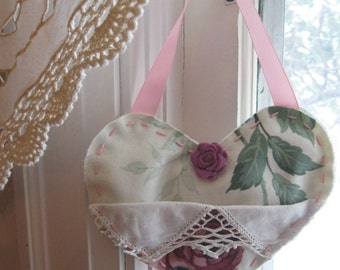 Pocket Heart, Fabric Heart, Handmade Heart Hanger, Roses, Shabby French, Door Hanger, by mailordervintage on etsy