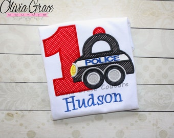 Police Birthday Shirt, Police Car Birthday shirt, Embroidered Bodysuit or Shirt for 1st, 2nd, 3rd, 4th, 5th, 6th Birthday