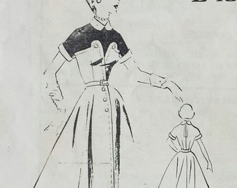 Vintage 1950s Pattern Colorblocked Faux Shirtwaist Dress Full Skirt Button Detail Peter Pan  Collar Modes Royale  D102 Bust 36