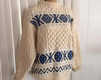Vintage Wool Cable Knit Snowflake Sweater Pullover -- Irish Wool -- Size L