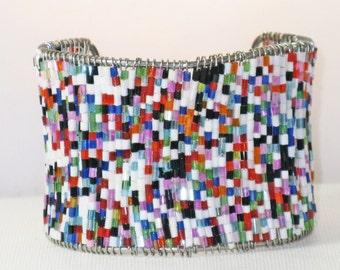Vintage Silver Tone Multicolored Bead Cuff Bracelet (BR-2-1)