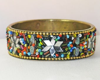 Vintage Brass Beaded and Mirrored Star Bangle Bracelet (BR-2-1)
