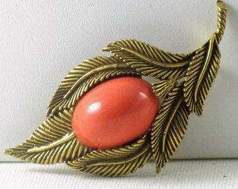 Vintage Faux Coral Leaf Brooch Pin  (B-1-2)