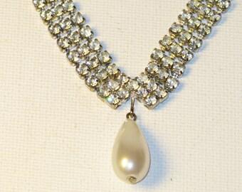 Vintage Silver Tone Dangling Faux Teardrop Pearl and Austrian Crystal Rhinestone Choker Necklace (N-3-4)