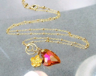 Romantic Pink Heart Necklace, Swarovski Crystal Heart Charm Sweetheart Necklace, Gold Flower Necklace, Pink Jewelry . LOVE