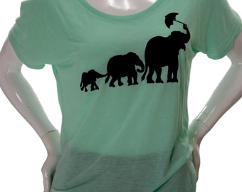 Elephant| Soft Lightweight Slouchy T Shirt| Relax fit| Umbrella| Art by MATLEY| Gift for her| Yoga| Zen.