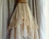 "Final Pmt Lauri B... ..""Belle"" Rustic   Beach  Shabby French Champagne Tea Ivory Cream Vintage Inspired  Wedding Dress Altered Slip"
