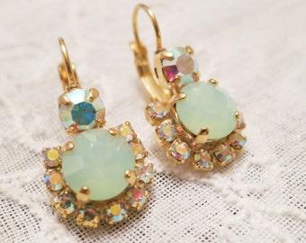 Seafoam Green Earrings,Bridesmaid Earrings,Sugar Sparklers,Swarovski Chrysolite Opal Earring,AB Mint Opal Halo Earrings,Mint Bridal Earrings