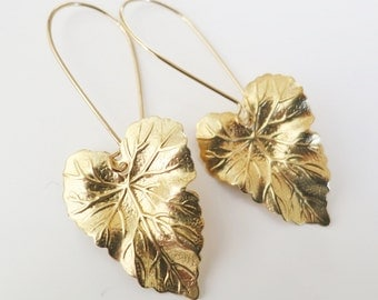 Gold Leaf Earrings,Womans Gift,Brass gold earrings, Boho chic Woodland Earrings,Leaf Jewelry Jewellery,Nature Lover gift,Gift to Her