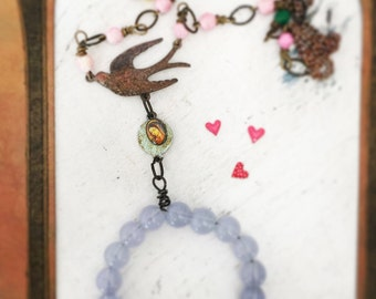 oracle~assembled bird pendant necklace, altered shabby cabochon necklace, antiqued jewelry, romantic, mori girl jewelry, boho, bead hoop