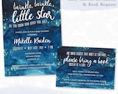 Watercolor Twinkle Twinkle Little Star Baby Shower Invitation, brush script, stars & night sky, custom color – digital or printed (BBY408)