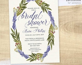 DIGITAL or PRINTED, Floral Bridal Shower Invitation, Flowers & Foliage Shower, floral wreath, lavender, custom text, script font