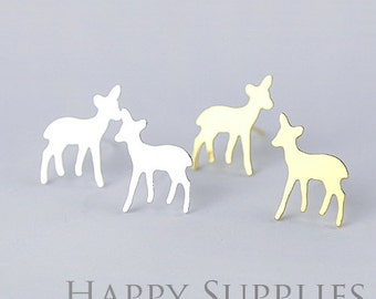 Nickel Free - High Quality Deer Dual-used Golden / Silver Brass Earring Post Finding with Ear Studs Back Stopper (ZEN042)