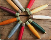 You Pick Vintage Thread Bobbin Colors for Holiday Home Decor Wool Threaded Industrial Era Wooden Spool Neutral Primitive