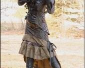 Skirt - Steampunk - Burning Man - Playa Wear - Tribal Overskirt - Gypsy Bohemian - Gothic Fashion - Black - Size Small