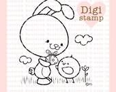 Easter Friends Digital Stamp - Bunny Digital Stamp - Digital Easter Friends Stamp - Bunny Art - Easter Card Supply - Easter Craft Supply