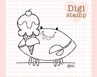Ice Cream Crab Digital Stamp - Crab Digital Stamp - Crab Clip Art - Summer Art - Summer Card Supply - Summer Craft Supply