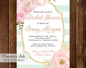 Mint and White Stripes Watercolor Peonies Bridal Shower Invitation, Watercolor Pink Roses, Gold Glitter Invitation, Mint & White Invite