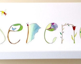 Custom Name Painting, Personalized Name Art, Illustration and Watercolor Painting, Nursery Wall Decor, Serena, Flowers, Trees, Ladybug,