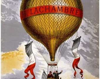 antique french air balloon illustration digital download