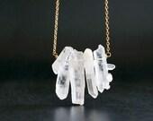 Quartz Necklace, Raw Crystal Necklace, Crystal Necklace, Quartz Jewelry, Crystal Points, Raw Quartz Necklace
