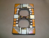 MOSAIC Electrical Outlet COVER , Wall Plate, Wall Art, Orange and White