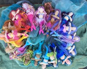 Custom Waldorf Mermaid Doll Merchild 7 inch Waldorf inspired Mermaid Child Doll