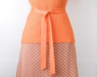 Vintage 1970s Polyester Shirt Skirt Set • Orange and Grey 2 Piece Set • Spring Polyester Dress