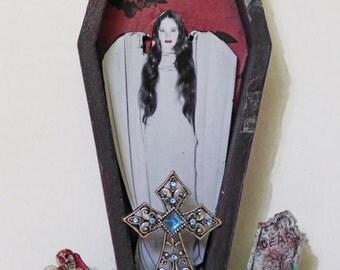 Coffin Box Diorama - Vampire Art - Gothic Decor