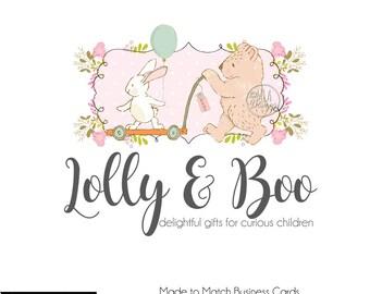 Bunny Logo, Bear Logo, Boutique Logo, Nursery Logo, Premade Logos, Knitting Logo, Crochet Logo, Boutique Logo