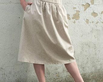 Linen Skirt with Elastic Waistband. Mix-natural color linen.