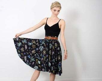 Night Garden Swing Pocket Skirt in Pale Pink, Ochre, Mint Green, Bright Blue and Rust on Black