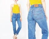 Vintage 90s Levis Jeans Vintage Levi Strauss Jeans Tapered Leg Mom Jeans Womens Boyfriend Jeans Medium Wash Denim Grunge Normcore 27 (S/M)